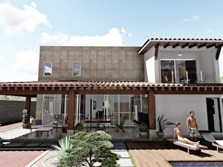 Fachada Posterior: Casas de estilo  por IAD Arqutiectura
