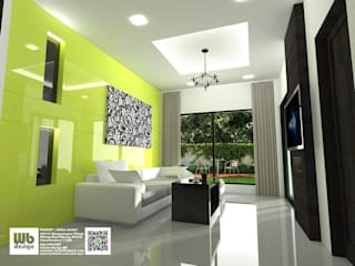 living room: ทันสมัย  โดย Interior Design WB, โมเดิร์น วัสดุสังเคราะห์ Brown