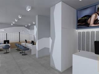 Salon optyczny - widok na ekspozycję: styl , w kategorii  zaprojektowany przez Ulczok Architektura