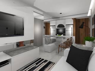 AP CC: Salas de estar  por Caroline Castillo Arquitetura,Moderno