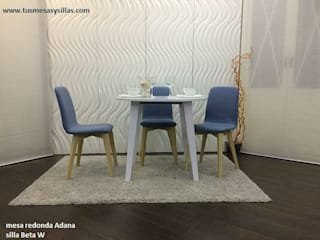 mesa redonda extensible blanca en 90 cm:  de estilo  de Tusmesasysillas.com