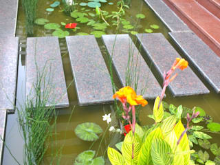 Natural Pond Entryway: tropical Garden by Cherry Garden and Landscapers