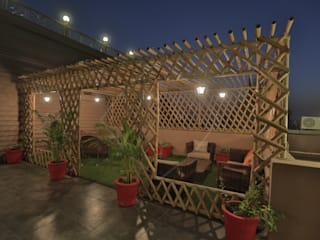 SKY DECK Asian style balcony, veranda & terrace by SPACCE INTERIORS Asian