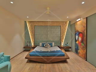 CAPITAL GREEN-2 Asian style bedroom by SPACCE INTERIORS Asian