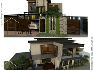 งานออกแบบบ้านพักอาศัย:  บ้านและที่อยู่อาศัย by Hw25design