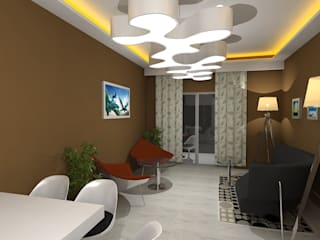 Palacio 1BHK Modern living room by Gurooji Designs Modern