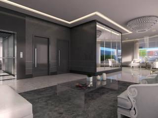 Projeto de Interiores Ed. Olímpo Corredores, halls e escadas modernos por Juliana Damasio Arquitetura Moderno