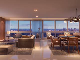 Projeto de Interiores Ed. Olímpo Salas de estar modernas por Juliana Damasio Arquitetura Moderno