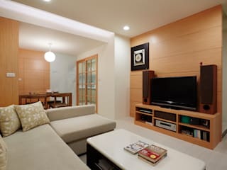 為了孩子的成長與居家的舒適 弘悅國際室內裝修有限公司 客廳 木頭 Wood effect
