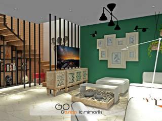 GO Design İç Mimarlık – Didim / Akbük Yazlık Villa Projesi:  tarz Oturma Odası