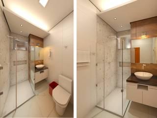 Residência BT. DTE Arquitetura e Consultoria LTDA Banheiros ecléticos Cerâmica Branco