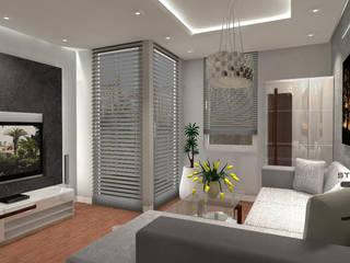 Projekt mieszkania Szarość z Akcentem Nowoczesny salon od JLStudioProjekt Nowoczesny