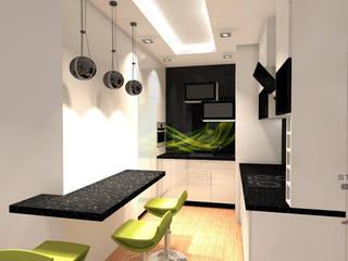 Projekt mieszkania Szarość z Akcentem Nowoczesna kuchnia od JLStudioProjekt Nowoczesny