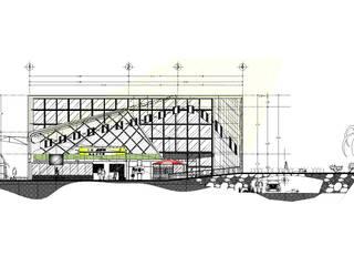 Corte Vestíbulo : Aeropuertos de estilo  por Castillo Merlin Arquitectura