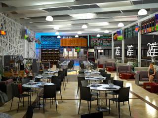 Bar Interior: Centros Comerciales de estilo  por Castillo Merlin Arquitectura