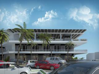 Fachada Derecha: Centros Comerciales de estilo  por Castillo Merlin Arquitectura