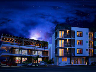 Fachada Hotel: Centros Comerciales de estilo  por Castillo Merlin Arquitectura