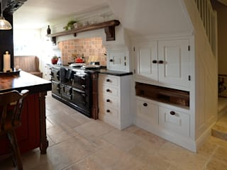 American Black Walnut in a hand painted kitchen Hallwood Furniture Kitchen Solid Wood White