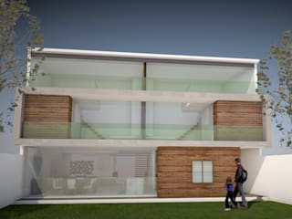 CASA AMZ PUEBLA / FACHADA POSTERIOR: Casas de estilo minimalista por AD+d