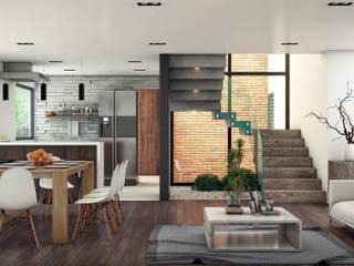 Vista interor: Salas de estilo moderno por D+STUDIO ARQUITECTURA*INTERIOR