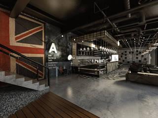 [Café ] 180평 패셔너블리한 공간 - 인더스트리얼 인테리어디자인 인더스트리얼 거실 by 디자인 이업 인더스트리얼