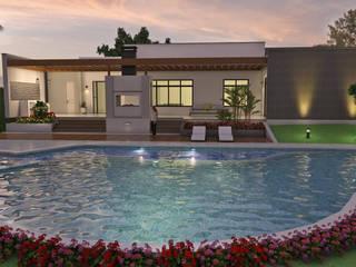 Diseño de Casa Moderna en Un piso, área construida 500 M2 Piscinas de estilo moderno de Arquitecto Pablo Restrepo Moderno