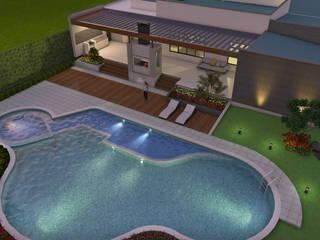 Diseño de Casa Moderna en Un piso, área construida 500 M2 Casas modernas de Arquitecto Pablo Restrepo Moderno
