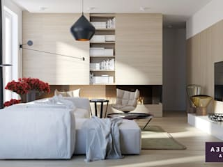 Частный дом «Природа внутри»: Гостиная в . Автор – Студия дизайна 'Азбука Дом'