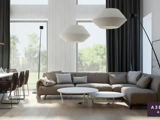 Частный дом «Осинка»: Гостиная в . Автор – Студия дизайна 'Азбука Дом'
