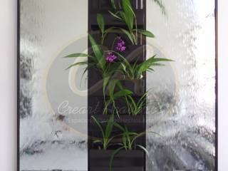 Espejos de agua con muro verde central:  de estilo  por Creart Acabados