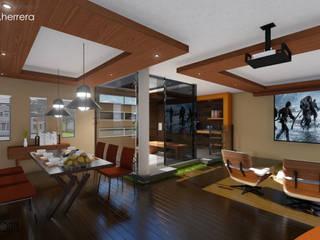 CASA HERRERA: Sala y cocina: Salas de estilo  por LABORATORIO CREATIVO HORIZONTE