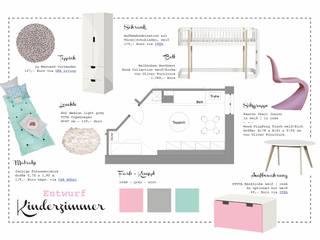 Mädchenzimmer in grau | rosé | mint von Innenleben design Skandinavisch