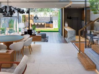 Pasillos, vestíbulos y escaleras modernos de ARC+ Arquitetura Moderno Concreto