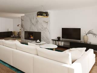 Moradia Unifamiliar T3 - Lordelo-Paredes: Salas de estar  por EsboçoSigma, Lda,Moderno