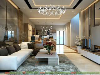 Thiết kế nội thất biệt thự Vinhomes Botanica B11-22 Mỹ Đình, Hà Nội: hiện đại  by Công ty TNHH Thiết kế và Ứng dụng QBEST, Hiện đại
