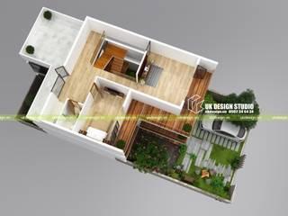 Mặt bằng biệt thự hiện đại 10 x 20m:  Nhà by UK DESIGN STUDIO - KIẾN TRÚC UK