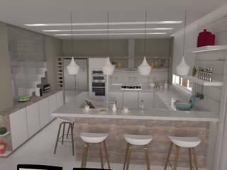 Projeto AF - área social: Cozinhas  por E+D Arquitetura,Moderno