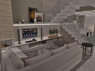 Projeto AF - área social: Salas de estar  por E+D Arquitetura,Moderno