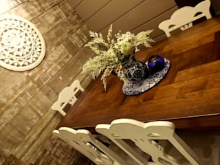 Apartamento SM - área social: Salas de jantar  por E+D Arquitetura,Minimalista