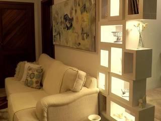 Apartamento SM - área social: Salas de estar  por E+D Arquitetura,Minimalista