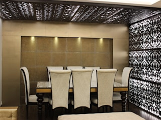 Living room design with MDF jaali design on wall and ceiling :  Living room by Prodigy Designs