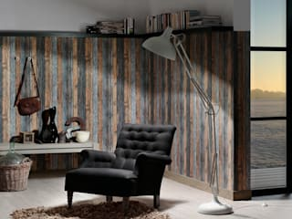 Papel pintado madera rústica azul y marrón estilo country:  de estilo  de Papel pintado para paredes Gaulan