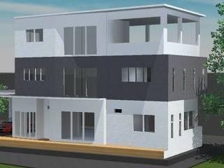 ออกแบบ 3d บ้าน 3 ชั้นให้ลูกค้า style modern โดย mayartstyle โมเดิร์น