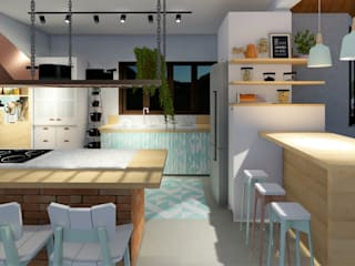Country style kitchen by Okla Arquitetura Country
