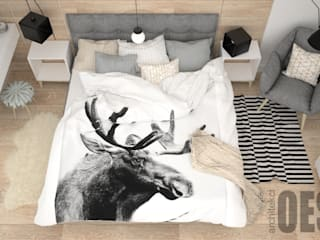 OES architekci Scandinavian style bedroom Wood Grey