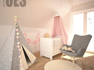 OES architekci Modern nursery/kids room Wood Pink
