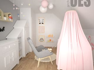 OES architekci Modern nursery/kids room Silver/Gold Grey