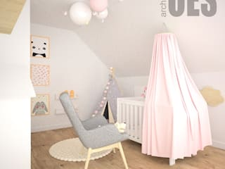 OES architekci Modern nursery/kids room Solid Wood White