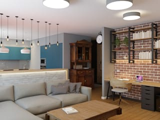 Salas de estar industriais por Дизайн Студия 33 Industrial
