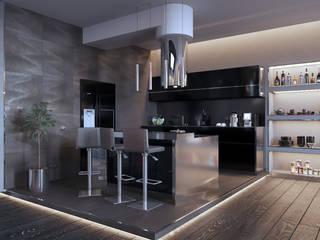 Брутальный минимализм Кухня в стиле минимализм от СТУДИЯ ДИЗАЙНА ИНТЕРЬЕРА BeHome-Design Минимализм